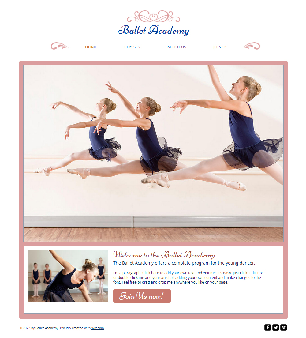 Free Ballet Studio HTML5 Websites