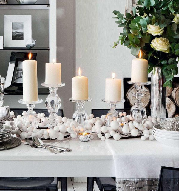 Glamorous White Christmas Table Decorations New In Decor Design Ideas