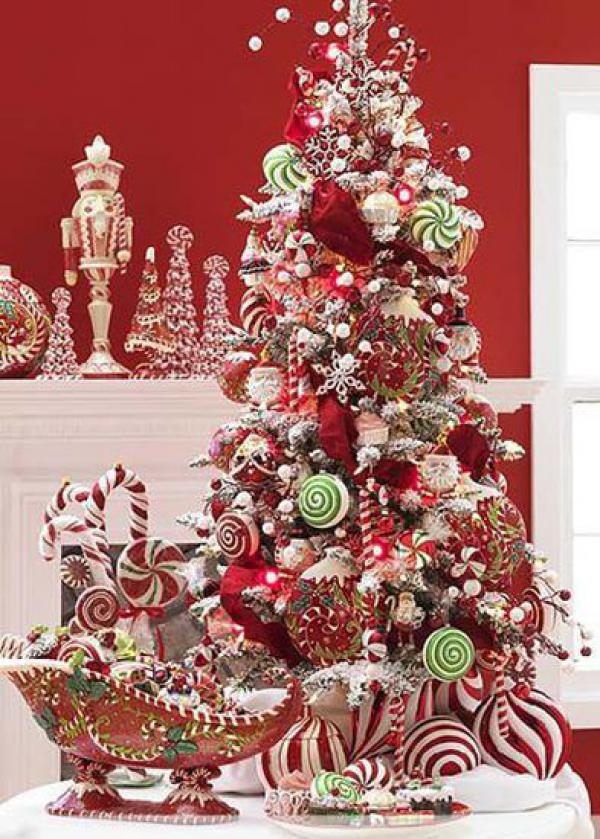 Lovely red themed Christmas tree deco with candy ornaments