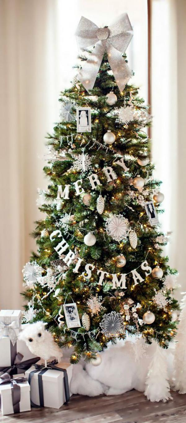 Merry Christmas tree with presents snowflakes