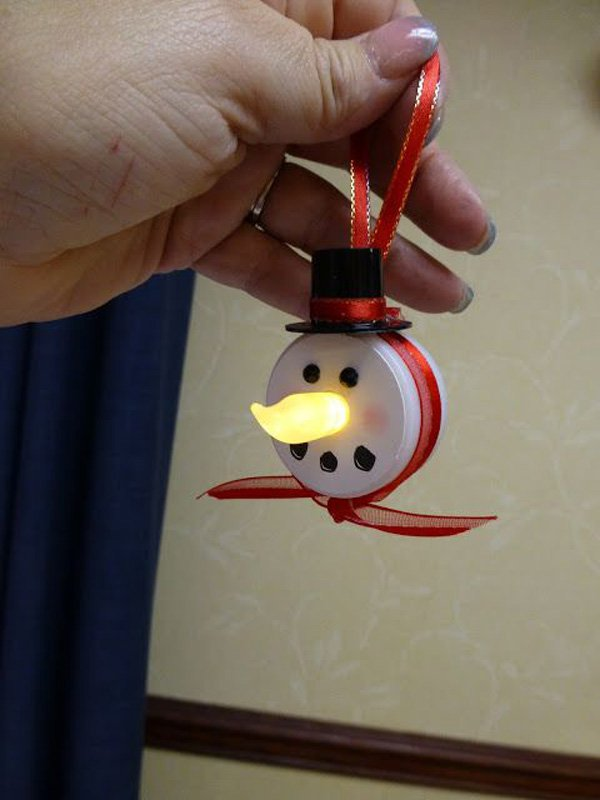 Snowman Ornament Made with battery operated tea light