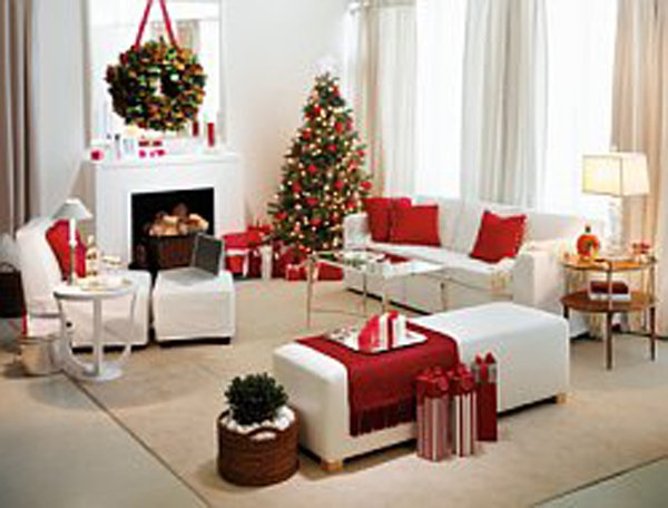 Room in loft, decked out for the holidays