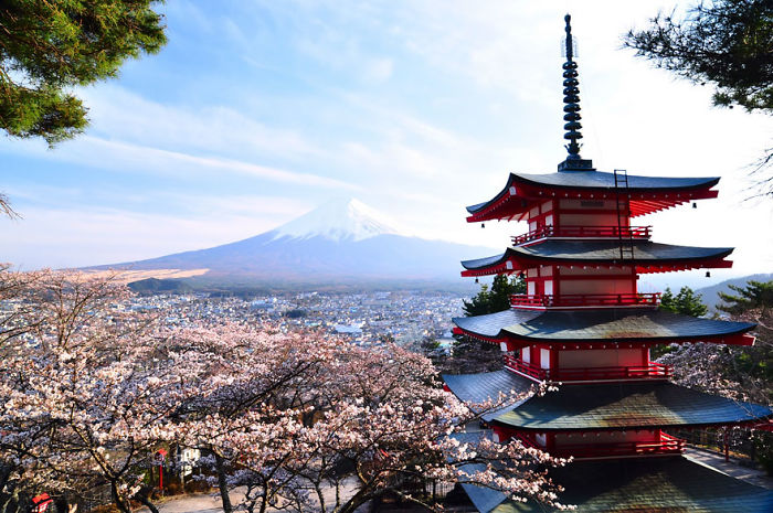 Chureito Pagoda And Mount Fuji