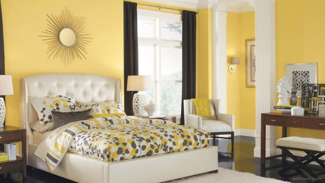 yellow white bedroom color schemes