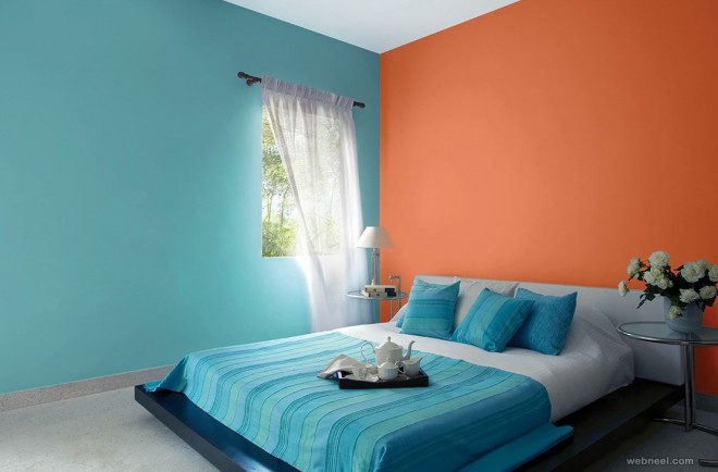 orange blue bedroom colour ideas