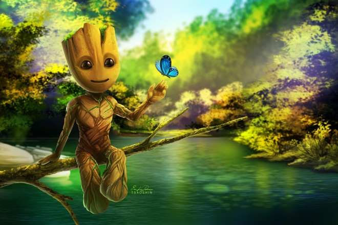 baby groot digital painting