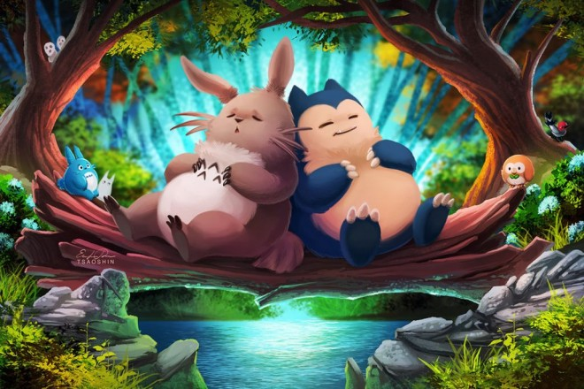 totoro snorlax digital painting