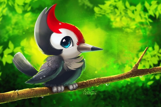 pikipek digital painting