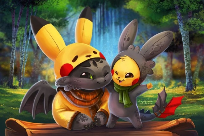 pikachu toothless digital painting