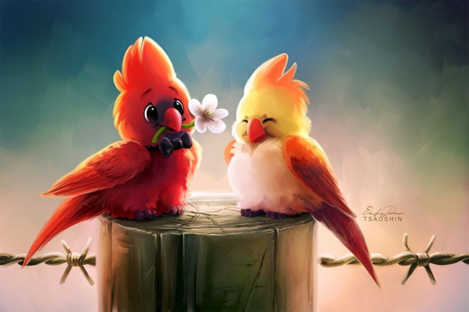 cardinals digital painting