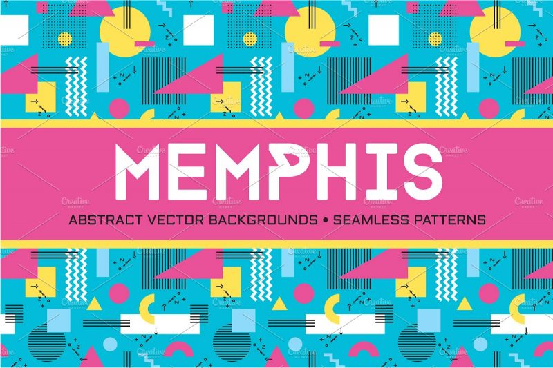 Abstract geometric background - seamless vector pattern in retro style of Memphis italian design school.
