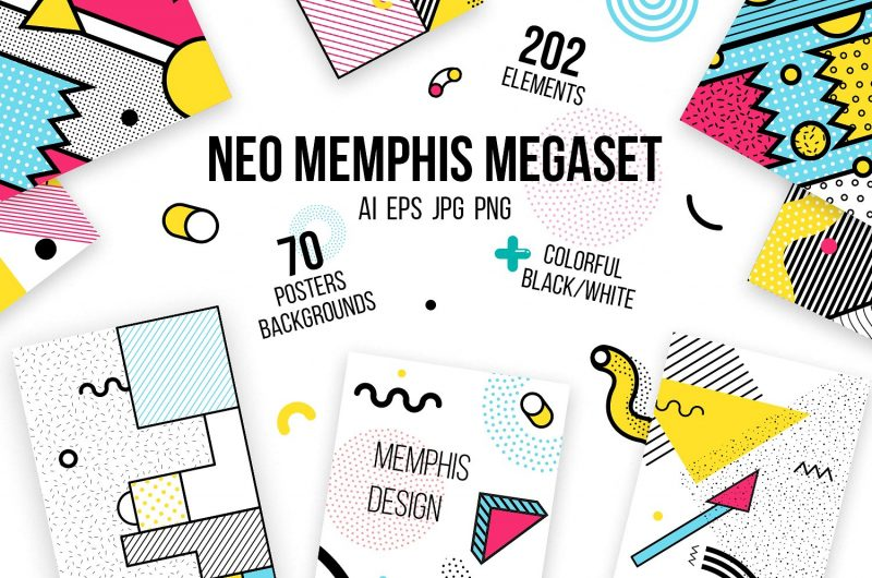 Megaset of 70 posters and backgrounds, 202 design elements for your design
